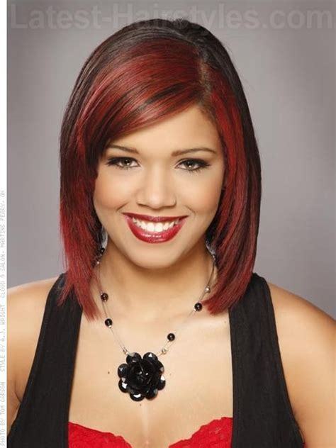 medium haircuts with straight hair and front cowlick red vixen dramatic highlighted bob a line slightly