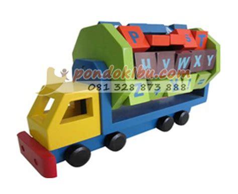 Mainan Edukatif Edukasi Anak Balok Kayu Alphabet Berdiri Inggris truk alphabet seri mainan anak edukatif pondok ibu