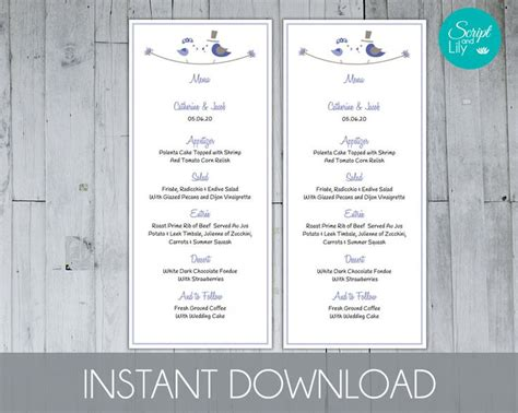 Cornflower Tea Length Menu Template Free Color Change Instant Download Editable Text Diy Free Menu Templates For Mac