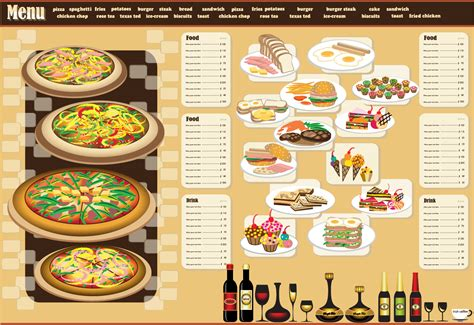 menu layout free download レストランメニュー デザイン見本 restaurant menu design イラスト素材 ai eps