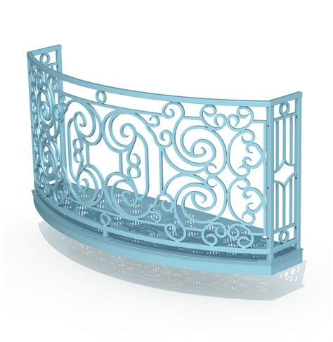 Deck Designer balcony render 3 curved wrought iron look with grate