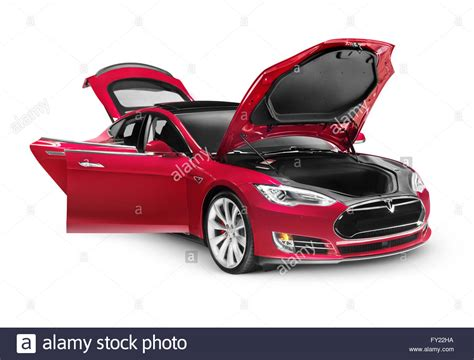 How To Open Tesla Doors Tesla Model S P85d Electric Car With Open Doors And