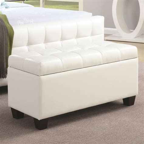 white leather storage bench 500129 white faux leather rectangular storage bench from