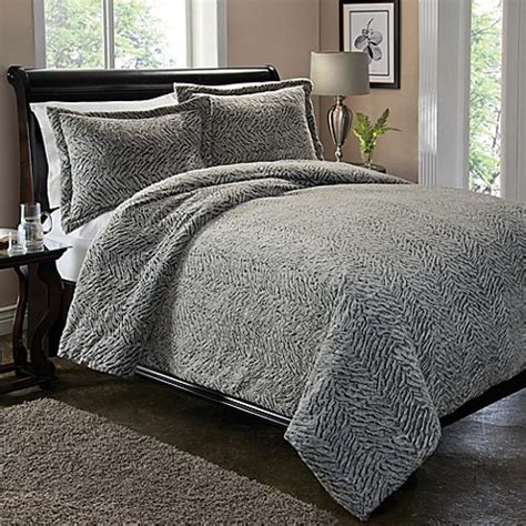 Jual Bed Cover Set California carved fur duvet cover set in silver bed bath beyond