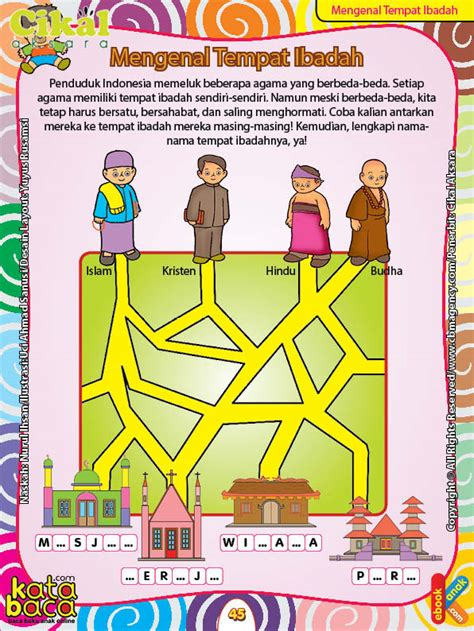 Buku Paud Dan Tk Seri Aku Senang Zikrul Hakim Bestari worksheet paud tk a b mengenal tempat ibadah ebook anak