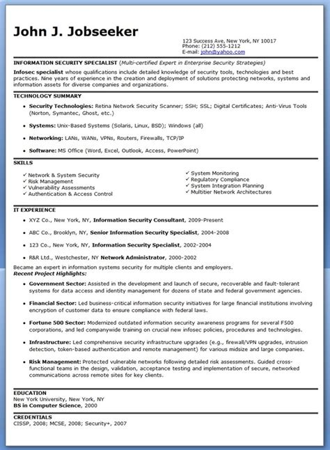 Computer Network Specialist Sle Resume by Information Security Manager Resume Exles 28 Images Exle Information Security Administrator