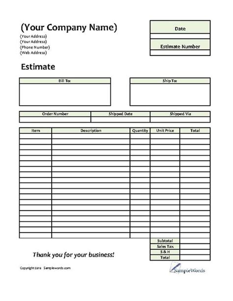 sales estimate template free printable estimate forms templates