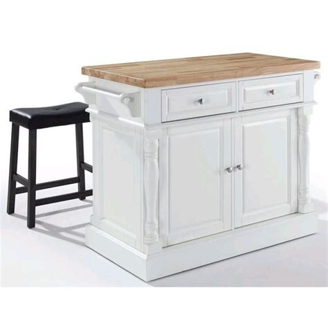 crosley oxford butcher block top kitchen island in white with 2 stools kf300064wh