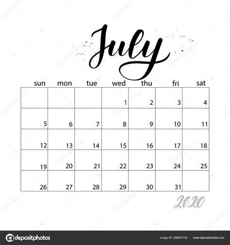 july monthly calendar   year stock vector  selentaori