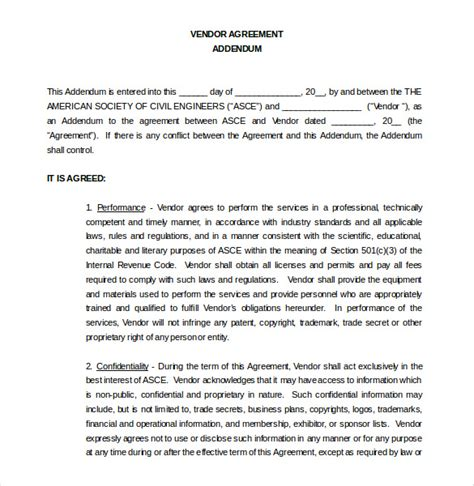 Vendor Agreement Template 26 Free Word Pdf Documents Download Free Premium Templates Addendum To Contract Template Word