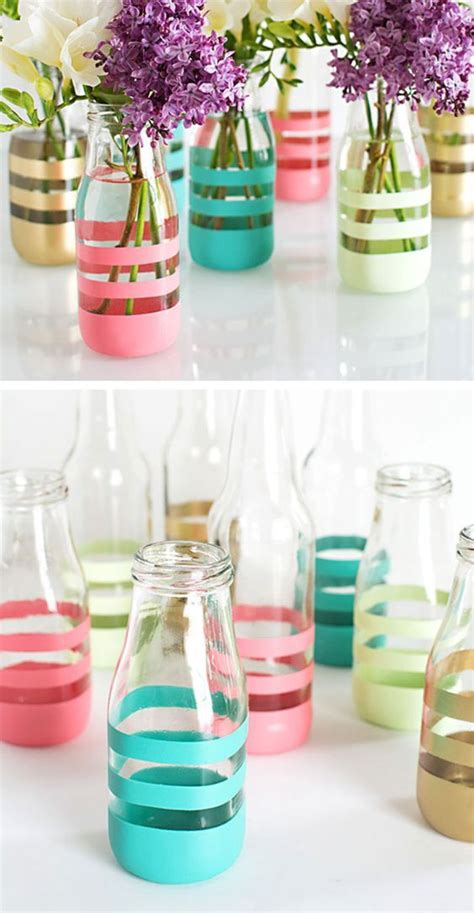 diy glass bottle crafts diy painted bottles starbucks latte painted bottles and milk bottles