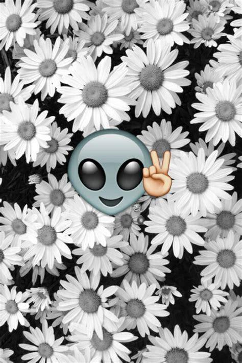 white wallpaper emoji ekran blokady czarno białe kwiaty emoji obcy obraz