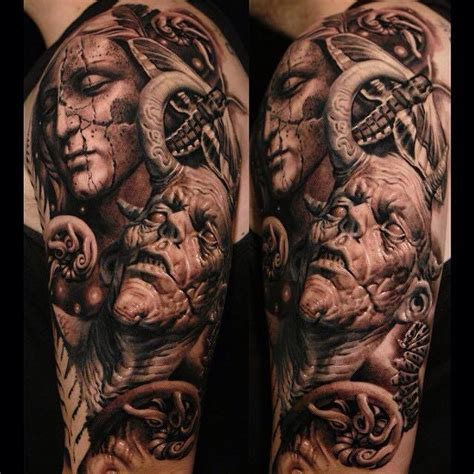 angels and demons tattoo sleeve designs realistic design by sergio