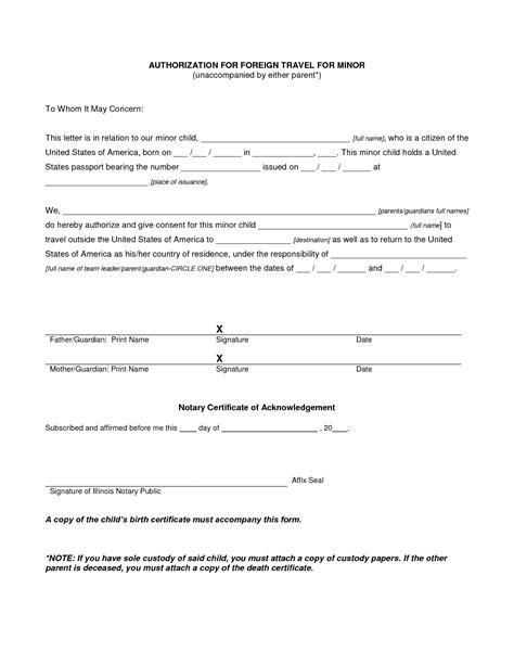 free letter of authorization for child to travel best photos of notarized parental authorization letter