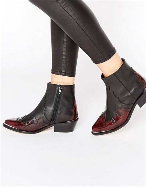 asos asos artessa leather western ankle boots