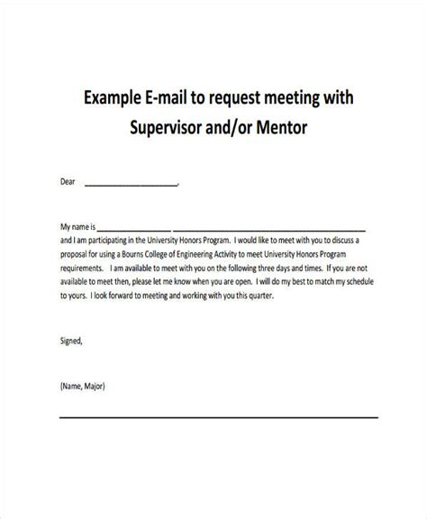schedule meeting email template meeting supervisor schedule a meeting email template