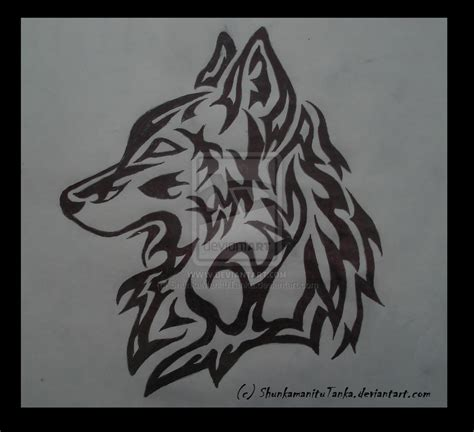 tribal pattern wolf tribal wolf pack drawing