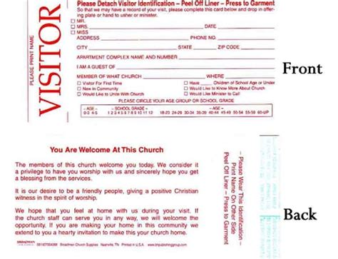 church visitor card template generator welcome visitor cards with adhesive name tag
