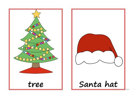printable christmas flashcards christmas flashcards with text worksheet free esl