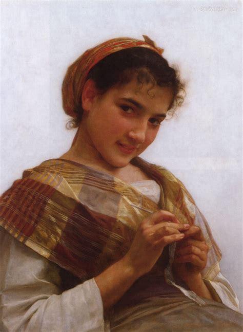 william adolphe bouguereau young girl portrait of a young girl crocheting william adolphe