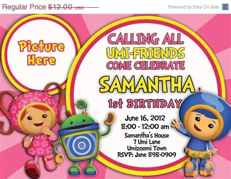 printable umizoomi invitations sale team umi zoomi invitation by partytimeinvite on etsy