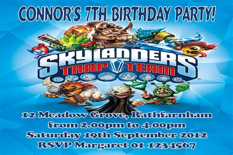 personalised skylander trap team invitations