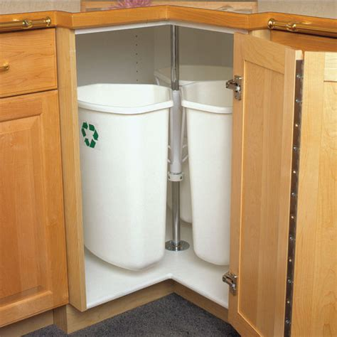 kitchen cabinet recycle bins knape vogt rotary recycling center for kitchen base corner 96 quarts 24 gallons