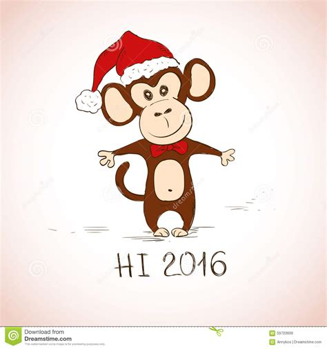 new year monkey greetings new year greeting card with monkey stock vector