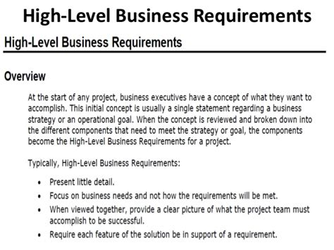 Business Requirements Functional And Non Functional High Level Business Template