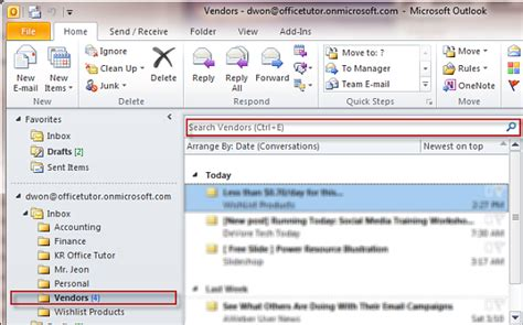 Outlook 2010 Search Not Finding Recent Emails Find A Message Or Item With Instant Search On Outlook Officetutor Usa