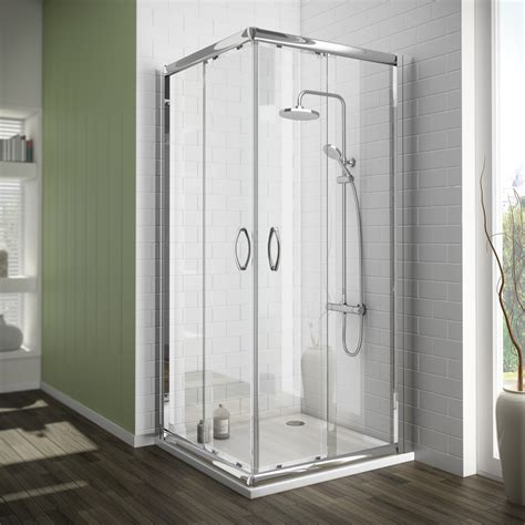 Corner Entry Shower Doors Corner Entry Shower Enclosure With Pearlstone Tray Cheshire Kitchens Compare