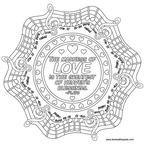 Love Quote Mandala To Color Music Quote Words Words | love quote mandala to color music quote words words