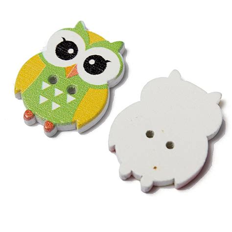 Owl Wooden Button 100pcs lovely owl animal wooden button sewing scrapbooking