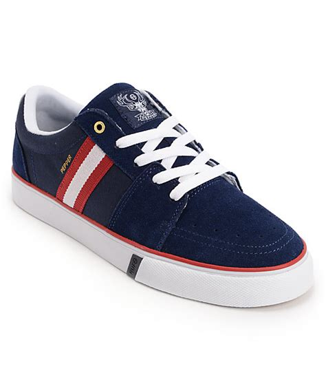 huf pepper pro navy white suede skate shoes at