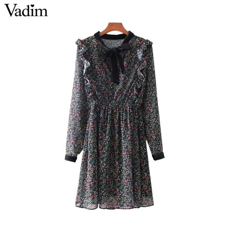Tie Neck Floral Chiffon Dress aliexpress buy vadim vintage ruffled floral