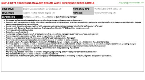 Data Processing Manager Sle Resume by Data Processing Manager Resume Sle