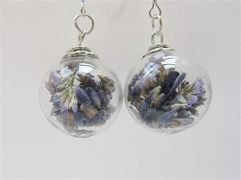 glass stones for jewelry real lavender earrings blown glass real flower