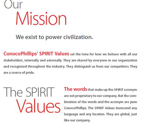 Vision And Mission Of Mba Student by Conocophillips Vision Mission Statement Mba Tutorials