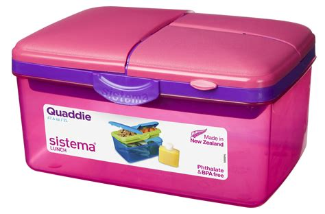 Lunch Box 2 sistema large pink quaddie 4 compartment lunch box 2 ltr bpa free