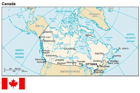 map usa canada border map and flag of canada