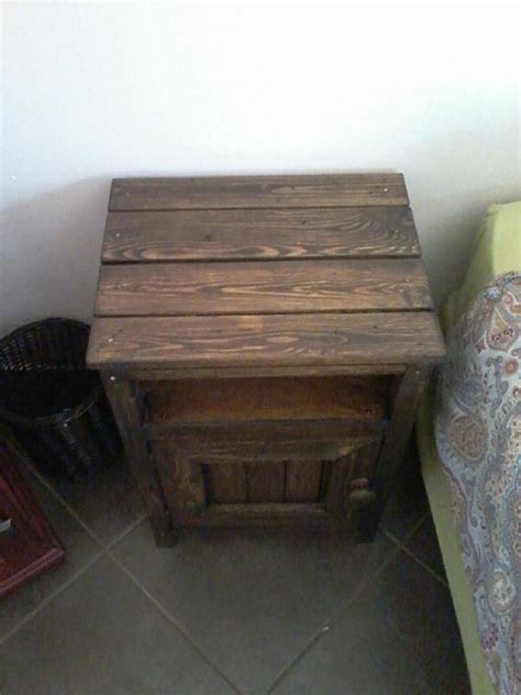 dark brown wood pallet nightstand