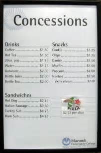 Concession Stand Menu Template by Sle Menus Cake Ideas And Designs