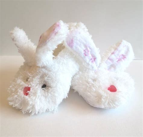 baby bunny slippers white fluffy minky bunny slippers with jiffy grip bottoms
