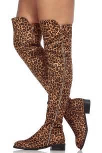 leopard print faux suede thigh zipper accent riding boots