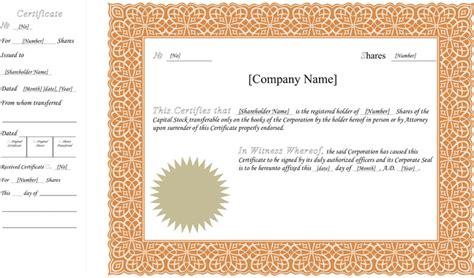 doc 728428 share certificate template canada certificate