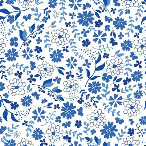 pattern flower blue seamless pattern from blue flowers vector illustration