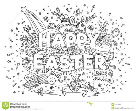 doodle resurrection happy easter doodle outline composition stock vector