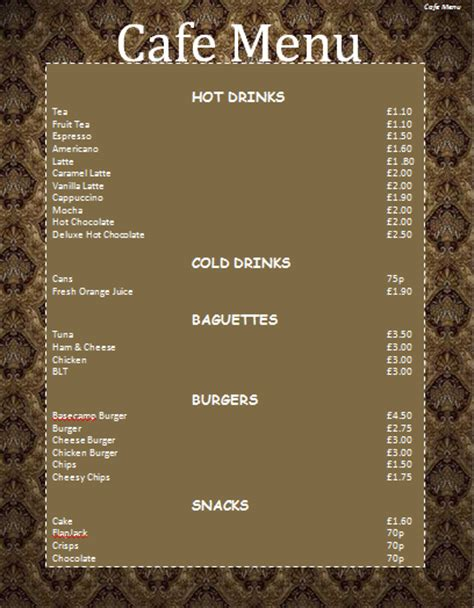 cafe menu template microsoft word templates
