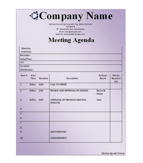 51 Effective Meeting Agenda Templates Free Template Downloads Meeting Agenda Template Free