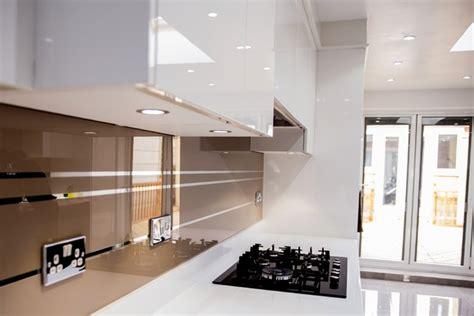 modern kitchen splashbacks quot mirror stripes on antelope colour quot glass kitchen